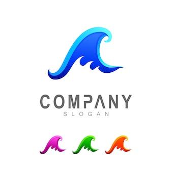 Simple wave logo template