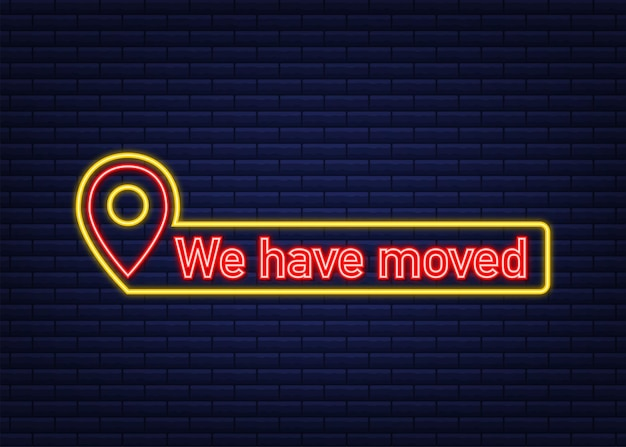 Simple we have moved melted badge shop or warehouse make easy relocation or info message