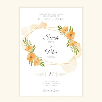 Simple wedding card template with watercolor floral wreath
