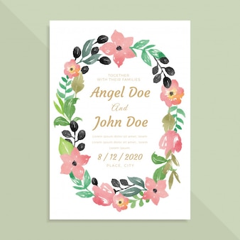 Simple Wedding Invitation Card With Watercolor Wreath