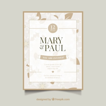 Simple wedding invitation in flat design
