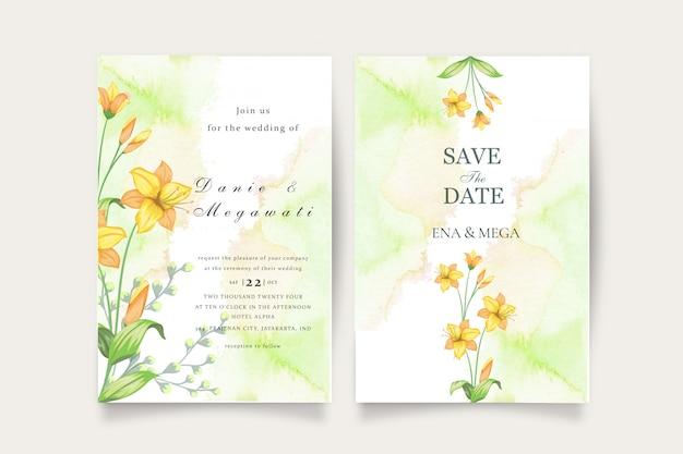 Simple wedding invitation set with beautiful flowers leaves