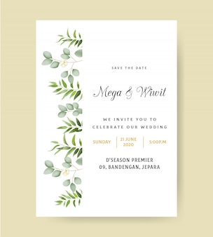 Simple wedding invitation with eucalyptus