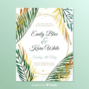 Simple wedding invitation with frame leaves