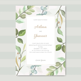 Simple wedding invitation with leaves vector