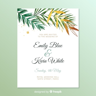 Simple wedding invitation with leaves