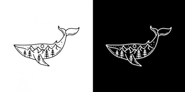 山モノラインデザインのシンプルなクジラ