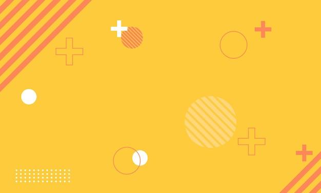 노란색 배경에 간단한 흰색과 빨간색 멤피스입니다. 광고, 포스터, 배너를 위한 최고의 디자인.