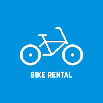 シンプルな白い自転車レンタルアイコン。自転車のコンセプト、自転車の販売、自転車のレンタル、旅行、会社のマーク、修理、ガイド。青い背景に分離。フラットスタイルのモダンなロゴタイプデザインベクトルイラスト