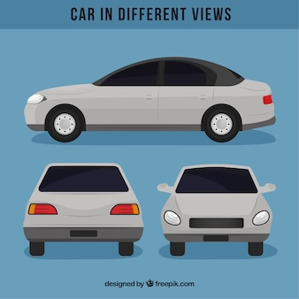 Простой белый автомобиль с разными видами
