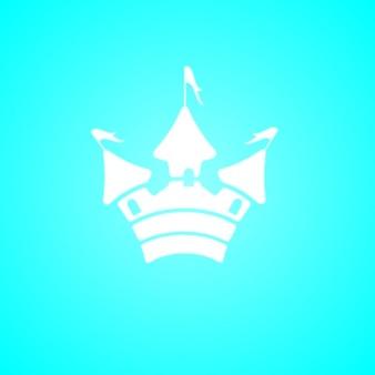 Simple white castle silhouette icon on blue