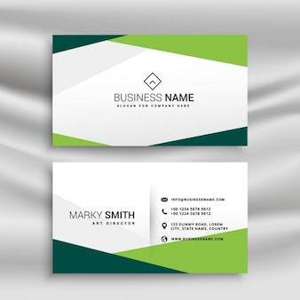 Simple white and green business card