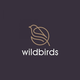 Simple wild bird line logo