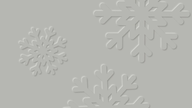 Simple winter abstract background with paper cut snowflakes