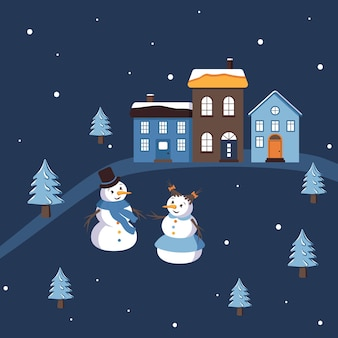 귀여운 눈사람과 눈 여자와 간단한 겨울 구성. 파란색과 노란색 집입니다. 눈과 눈송이에 크리스마스 트리입니다. 도시, 마을에서 휴일의 평면 벡터 일러스트 레이 션