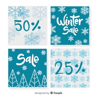 Simple winter sale cards collection