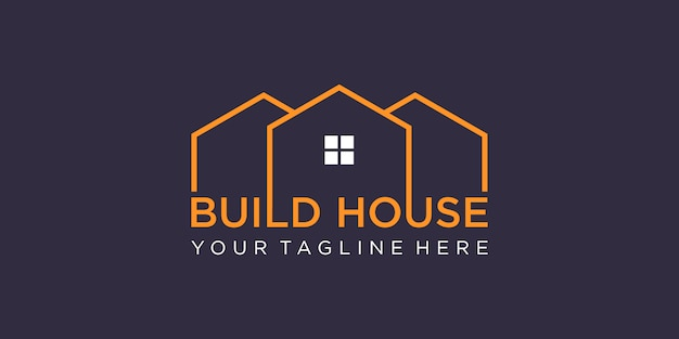 Simple word mark build house logo design with line art style. home build abstract  design