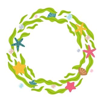 白い背景で隔離の藻、ヒトデ、貝殻のシンプルな花輪。ベクトルイラスト