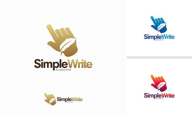 간단한 쓰기 로고 디자인 개념, 온라인 회사 로고 템플릿 기호, 깃털 로고