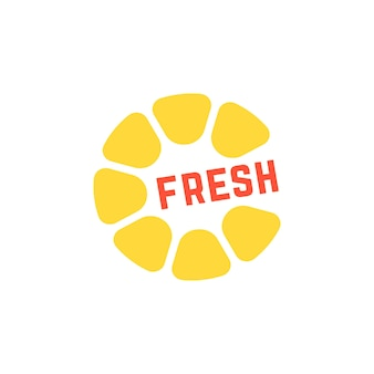 シンプルな黄色のフレッシュジュースのロゴ。朝食、トロピカル、ラウンドシトロン、栄養、クエン酸、料理、カフェのコンセプト。白い背景で隔離。フラットスタイルトレンドモダンブランドデザインベクトルイラスト