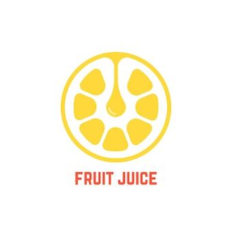 シンプルな黄色のフルーツジュースのロゴ。鮮度バッジ、皮、おいしい、おいしい、農業、バー、プレミアム、樹液、クラッシュの概念。フラットスタイルのトレンドモダンなブランドデザインの白い背景のベクトル図