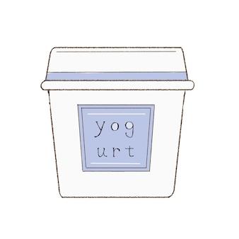 Простой йогурт. симпатичный и простой художественный стиль. на белом фоне.