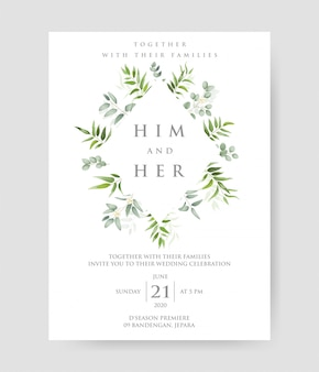 Simplel wedding invitation with eucalyptus branches frame.