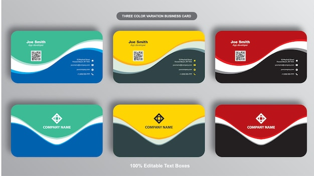 Simples elegant wave business card collection