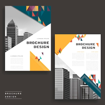 Simplicity brochure template design with city landscape and polygons