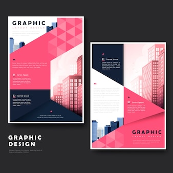 Simplicity brochure template design with urban landscape and polygon elements