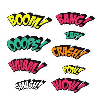 Simplicity colorful comic sound effects set over white background
