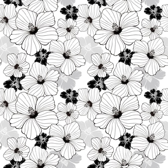 Simplicity hibiscus seamless pattern in black and white