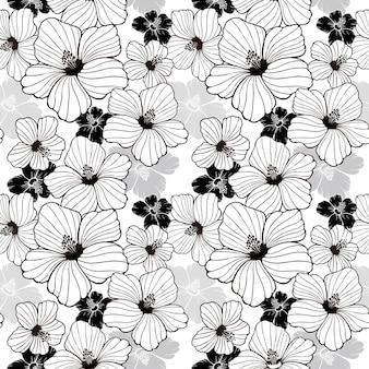 黒と白のシンプルなハイビスカスのシームレスなパターン
