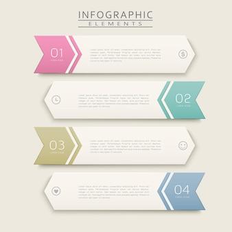 矢印ラベル要素を使用したシンプルなインフォグラフィックデザイン
