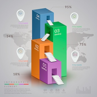 Simplicity infographic template design with 3d isometric bar chart