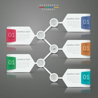 배너 옵션이 포함 된 단순 인포 그래픽 템플릿 디자인