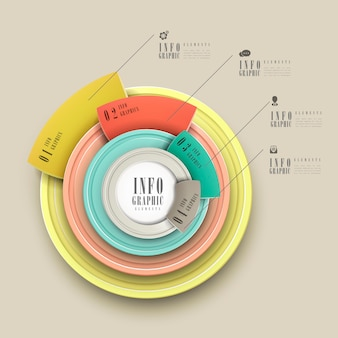 Simplicity infographic template design with circular elements