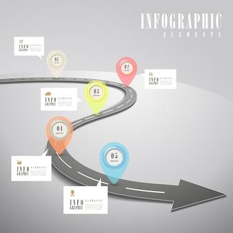 Простота инфографического шаблона с расширенной дорогой