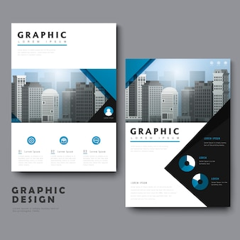 Simplicity template design with urban landscape and geometric elements