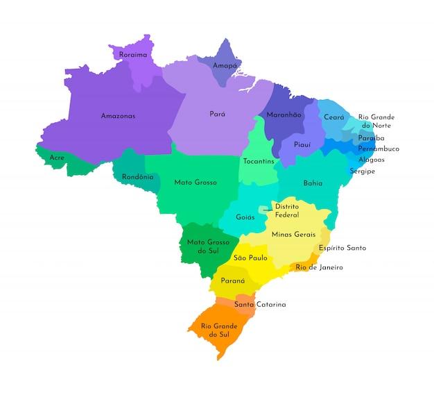 Упрощенная административная карта бразилии Premium векторы