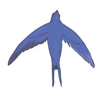 白い背景で隔離の空飛ぶツバメの簡略化された画像。