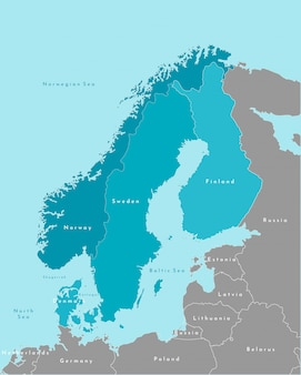 Simplified political map of scandinavian and northern europe countries in blue colors and nearest areas in grey.