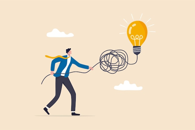 Simplify complex business idea, untangle or solve business problem, solution for messy chaos situation concept, smart businessman untangle messy line of business idea lightbulb or simplify problem.
