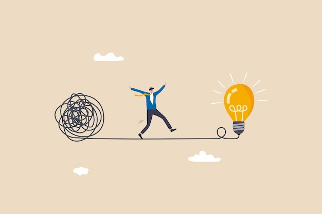 Simplify idea to find solution, thinking process or creativity to solve problem, discover easy way to understand concept, smart businessman walking away from mess chaos line to simple lightbulb idea.