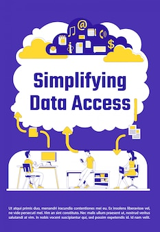Simplifying data access poster flat silhouette template