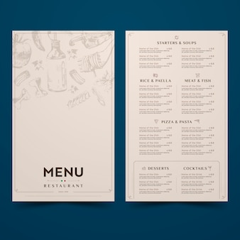 Simplistic design for restaurant menu