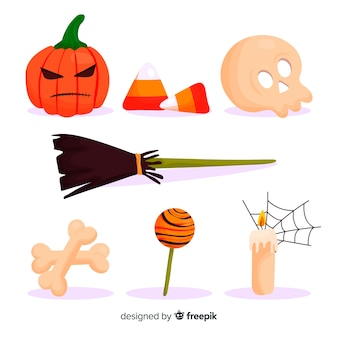 Simplistic flat halloween element collection