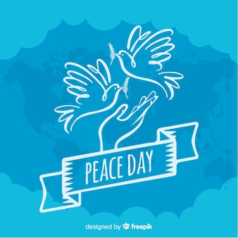 Simplistic hand drawn peace day