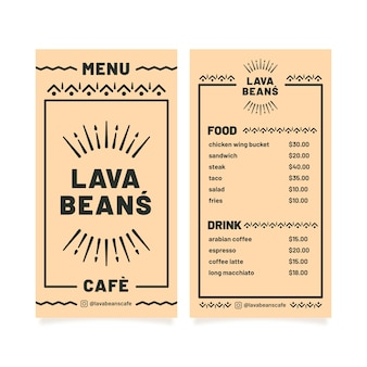 Simplistic restaurant menu template