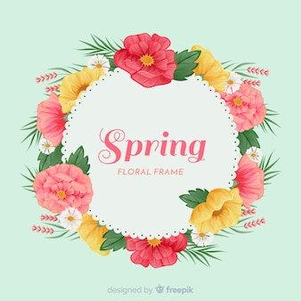 Simplistic spring background with floral frame